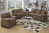 Poundex Bobkona Colona Mircosuede 3 Piece Sofa and Loveseat with Chair Set, Dark Brown
