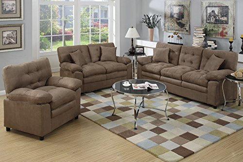 Poundex Bobkona Colona Mircosuede 3 Piece Sofa and Loveseat with Chair Set, Dark Brown (Poundex Loveseat Set)