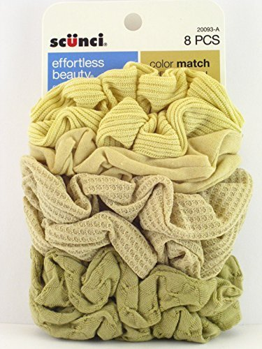 Scunci Color Match Mixed Knit Twister Blonde Hair Scrunchies - 8 Pcs. by Scunci