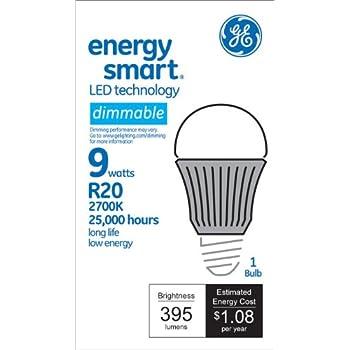 GE Lighting 64607 Energy Smart LED 9-Watt (40-watt replacement) 395-Lumen R20 Floodlight Bulb with Medium Base, 1-Pack