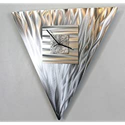 Unique All Natural Silver Triangle Modern Wall Clock - Abstract Metal Art - Hanging Timepiece - Times 3 By Jon Allen