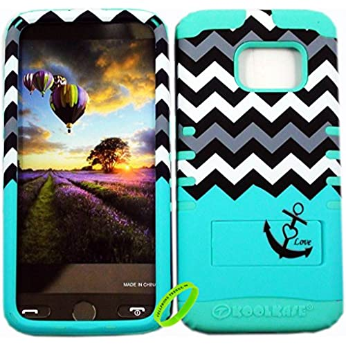 Samsung Galaxy S7 Cellphone Trendz HARD & SOFT RUBBER HYBRID ROCKER HIGH IMPACT PROTECTIVE COVER -Blue Love Anchor Chevron on Mint Blue Sales