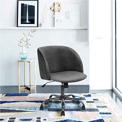 EGGREE Mid Century Modern Desk Chair Mid-Back Home Office Velvet Task Chair Swivel Executive Chair Armrest Accent Home Office Chair,Grey