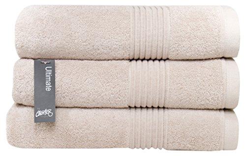 Chortex Zero Twist Cotton Bath Towel (3 Pack), Pack of 3, Barley