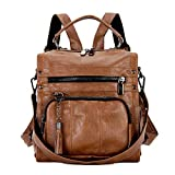Mynos Women Backpack Purse Leather Handbag Bag Ladies Rucksack Travel Tote Shoulder Bag (A-Brown)
