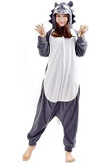 467cf2a4029f0 Kigurumi Onesie Pyjama Combinaison Animal Adulte Unisexe Cosplay Halloween  Costume Loup