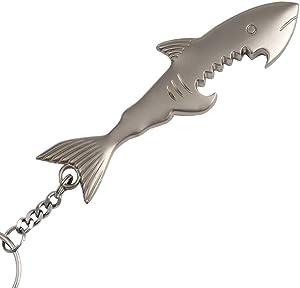 Shark Bottle Opener, Uptsky Shark Beer Bottle Opener Keychain Fish Bottle Opener Key Chain Ring for Men Women