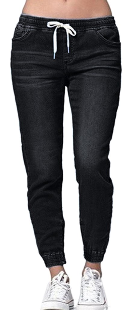 Women's Juniors Casual Soft Sweatpants Distressed Twill Jeans Jogger Pants Black,US 2-4