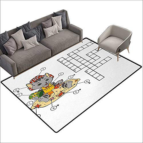 (Word Search Puzzle Home Custom Floor mat Crossword Game for Children Cute Cat on Beach and Building Sand Castles 70