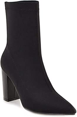 heeled stretch ankle boots