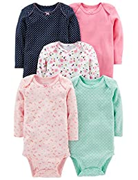 Simple Joys by Carter's Girls' 5-Pack Long-Sleeve Bodysuit