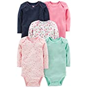 Simple Joys by Carter's Baby Girls' 5-Pack Long-Sleeve Bodysuit, Pink/Navy/Mint, 12 Months