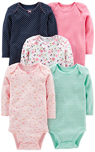 (Simple Joys by Carter's Baby Girls' 5-Pack Long-Sleeve Bodysuit, Pink/Navy/Mint, 6-9 Months)