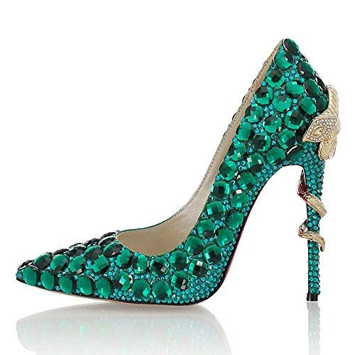 Vert Mariage Pointu Femmes Chaussures EU Cuir coloré Fuxitoggo Pompes Bout Strass 38 Vert Taille de xqCnB8wvX