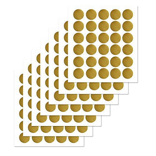 tickers(210 Decals) , Metallic Gold Polka Dots Wall Decals with Gift Packaging for Kids Room,Living Room ,Bedroom (1.75 inch ) (Wall Decals Circles)