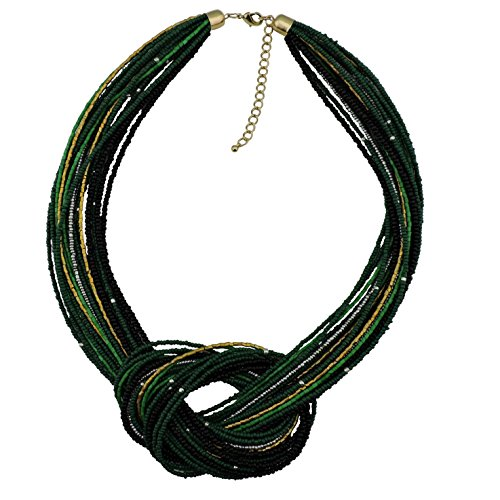 Bocar Seed Beads Multilayer Chunky Bib Statement Knot Necklace (NK-10316-deep - Green Casual Necklace