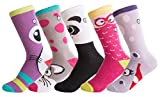 Kid's Silly Socks - Cute Cotton Socks for Girls - Stylish, Casual, Fun Footwear By VYBE (5 pack) (Large, Silly)