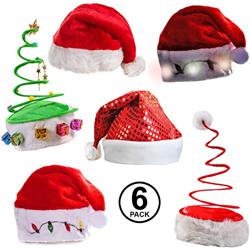 (Funny Party Hats Christmas Hats - Santa Hat, Elf Hat, Coil Santa Hat (6 Pack))