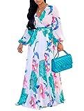 Beautife Womens Long Sleeve Maxi Dresses Chiffon Floral Print Deep V Neck Party Dress
