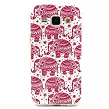 Galaxy G360 Case, Style Hybrid Fancy Colorful Pattern Hard Soft Silicone Back Case Cover Fit for Samsung Galaxy Core Prime G360 (Red Elephan)