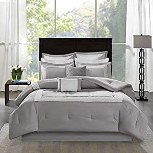Madison Park Stratford King Size Bed Comforter Set Bed in A Bag - Grey, Geometric – 8 Pieces Bedding Sets – Ultra Soft Microfiber Bedroom Comforters