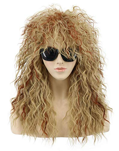- VGbeaty Men Women Long Wave Brown and Blonde 70s 80s Rocker Mullet Costume Anime Wig