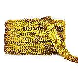 Mandala Crafts–Brillo metálico Bling elástico Paillette Appliqué Stretch de lentejuelas recortar Ribbon for tela de encaje embellecer Diademas, Dorado, 1