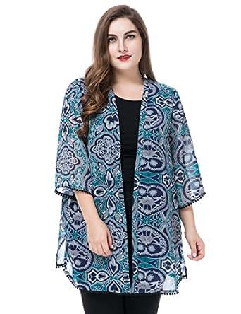 Chicwe Women's Plus Size Floral Print Chiffon Jacket Shawl Kimono Kaftan Style with Trim Cuff & Hem, Multi Teal, 16