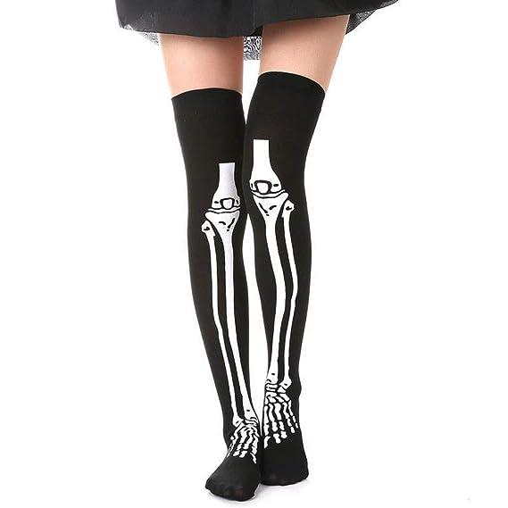 JYC Calcetines Mujer, Medias De CompresióN Mujer, 1 Pares Esqueleto Hueso Pie HalloweenEncima los Rodilla Disfraz Alto Medias Calcetines: Amazon.es: Ropa y ...