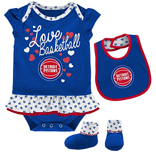 "NBA Newborn & Infant ""Little Sweet"" Onesie, Bib and Bootie Detroit Pistons-Blue-12 Months"