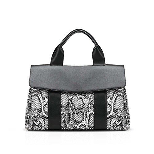 NICOLE&DORIS Modern Women's Snakeskin Print PU Leather Shoulder Bag Handbag Crossbody Bag Black (Print Snakeskin Tote)