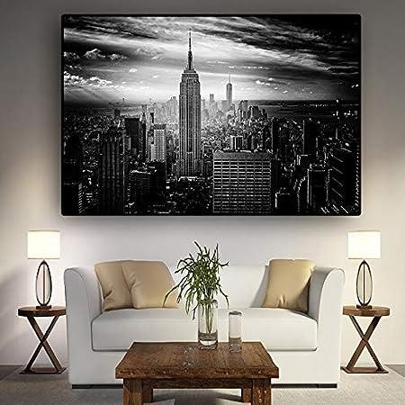 N / A Nueva York Arquitectura Blanco Negro Lienzo Pintura Cartel e impresión Mural Sala Imagen sin Marco Pintura 40cmX60cm