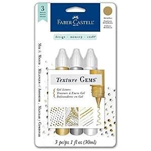 Faber-Castell Design Memory Craft Texture Gems for Mixed Media, 3 piece - Metallics