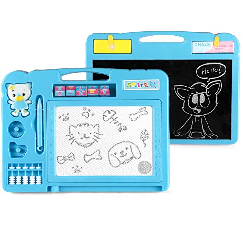 (KIDSMARTER 2 in 1 Magnetic Drawing Board + Blackboard for Kids | Erasable Magnetic Doodle Board | Educational Doodle Board for Drawing and Writing | Toddler Doodle Board with Lovely Stamps)