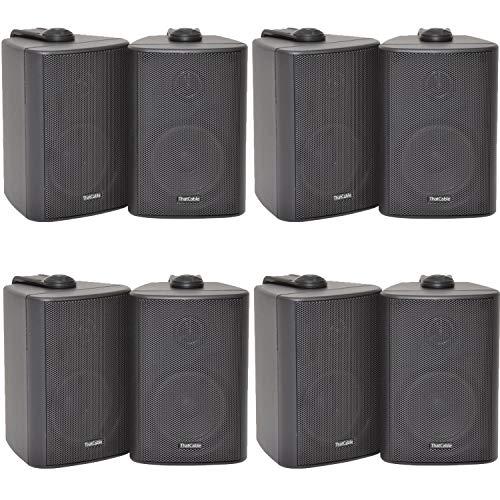 8x (4 paar) – 60W 2-weg zwarte muur gemonteerde stereoluidsprekers en beugels – 3″ 8Ohm – Mini compacte achtergrond muziek luidsprekers voor HiFi Surround Sound & Streaming