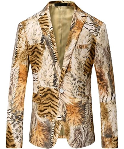 Alion Men's Casual Dress Suit Notched Lapel Blazer White Tiger Stripes Digital Printing Leopard Suit Blazers 1 XS