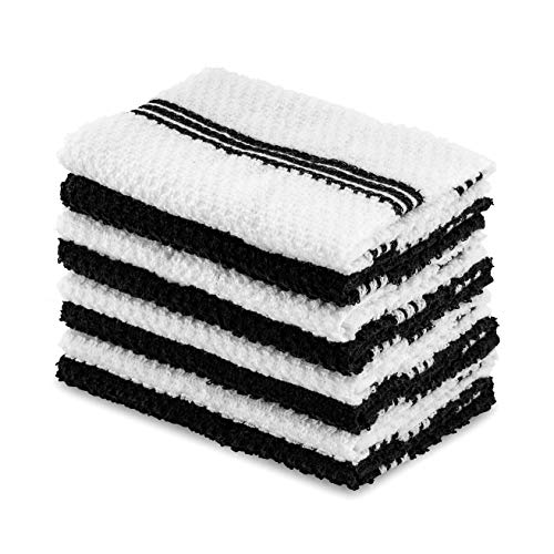 DAILY HOME ESSENTIALS 100% Cotton Terry Dish Cloth, Quick Dry Kitchen Rag | Absorbent Cafe, Bar & Restaurant Cleaning WashCloth | 8 Pack 12 x 12 inch - Black ()