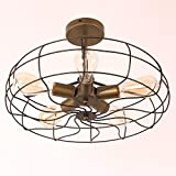 Unitary Brand Antique Bronze Rustic Metal Semi Flush Mount Light Max 200W with 5 Bulb Sockets Bronze Finish
