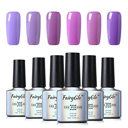 6PCS Purple Nail Polish Gel UV LED Soak Off Nail Art Kit Gorgeous Manicure Collection Gift Set FairyGlo 10ml 001