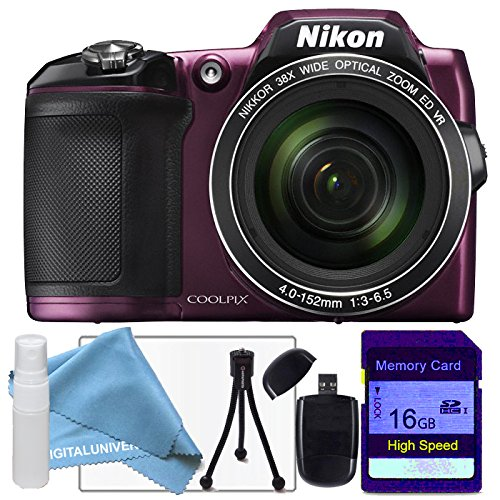 [Nikon Coolpix L840 Plum Digital Camera, 16gb sdhc class 10 memory card, USB Card Reader, table top tripod, lens cleaning kit and lcd screen protector] (Nikon Coolpix Plum)
