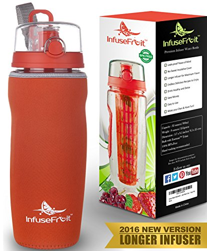 Infuser Water Bottle with Full Length Infusion Rod and Insulating Sleeve + 25 Fruit Infused Water Recipes eBook Gift - Large 32 Oz Sport Bottle - Your Healthy Hydration Made Easy - Tango Red (Machine Juice Business compare prices)