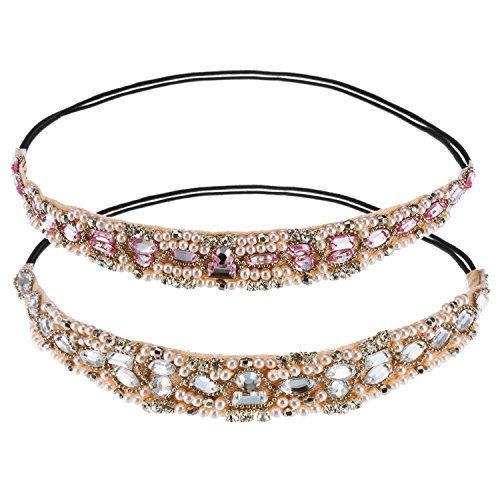 Hotop 2 Pieces Handmade Rhinestone Crystal Beaded Elastic Headband Hair Bands Woman Hair Accessories