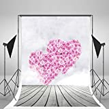 5x7ft Wood Floor Photography Backdrops Pink Rose Love Flowers Valentine Photo Background