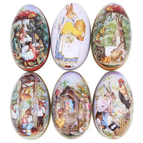 Winterworm 6pcs Creative Cute Tin Bunny Chick Printing Alloy Metal Easter Eggs Shaped Candy Box Holder