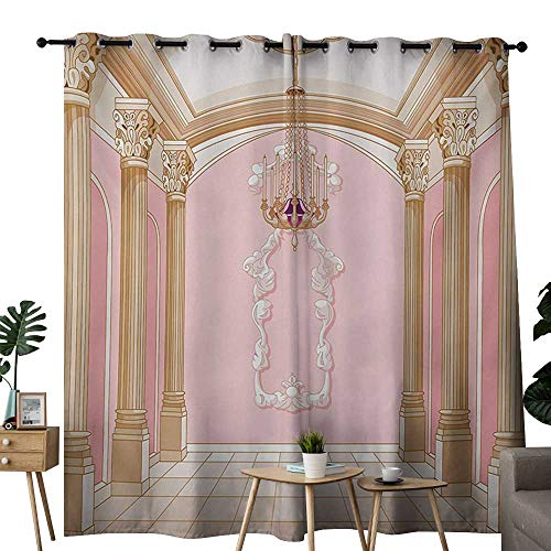 NUOMANAN Thermal Insulated Blackout Curtain Princess,Interior of The Ballroom Magic Castle Chandelier Ceiling Columns Kingdom Print,Rose Peach,Blackout Draperies for Bedroom Living Room ()