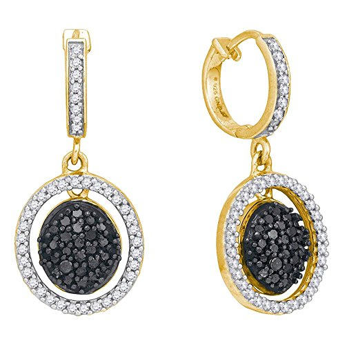 Roy Rose Jewelry 10K Yellow Gold Womens Round Black Color Enhanced Diamond Oval Frame Dangle Earrings 3/4-Carat tw ()