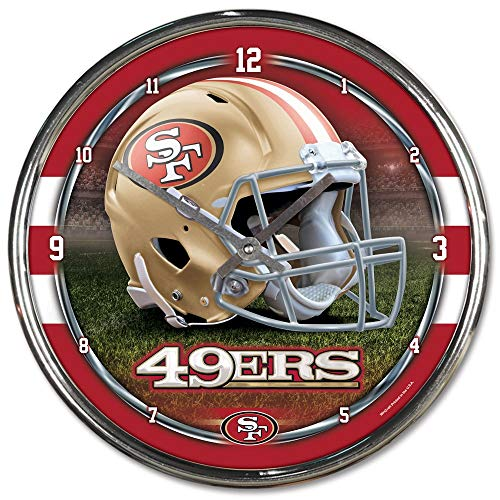 San Francisco 49ers NFL Chrome Round Clock Football Sports Home Decor ()
