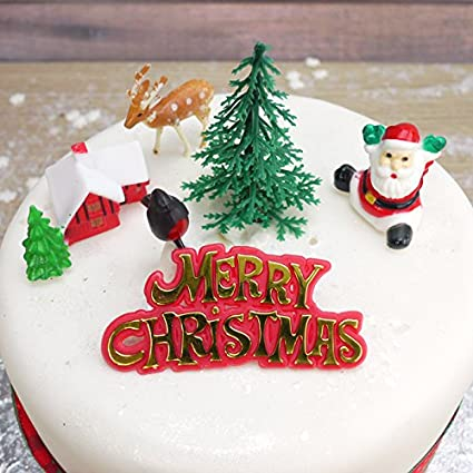 Christmas Cake Decorations.Retro Christmas Cake Decorations Set 6pc