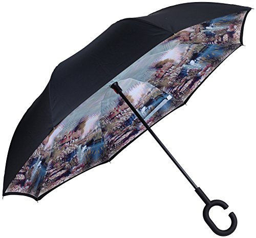 Marino Upside Down Umbrella - Reverse Folding Inside Out Umbrella - Unbreakable - Country Side