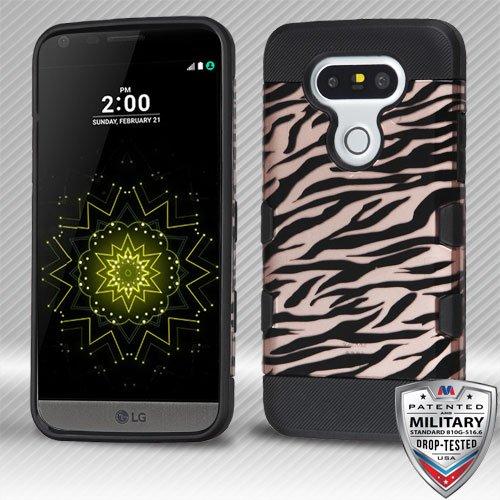 - Asmyna TUFF Trooper Hybrid Protector Case for LG G5 - Black Zebra Skin (2D Rose Gold)/Black